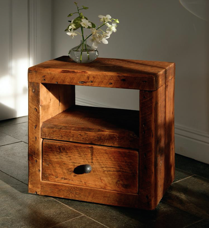 Beam Cube Reclaimed Wood Bedside Table With Drawer In 2020 Reclaimed Wood Bedside Table Reclaimed Wood Bedside Reclaimed Wood Furniture