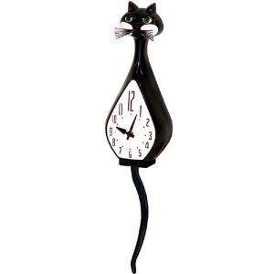 1pc Simone Black Cat Animated Wall Clock