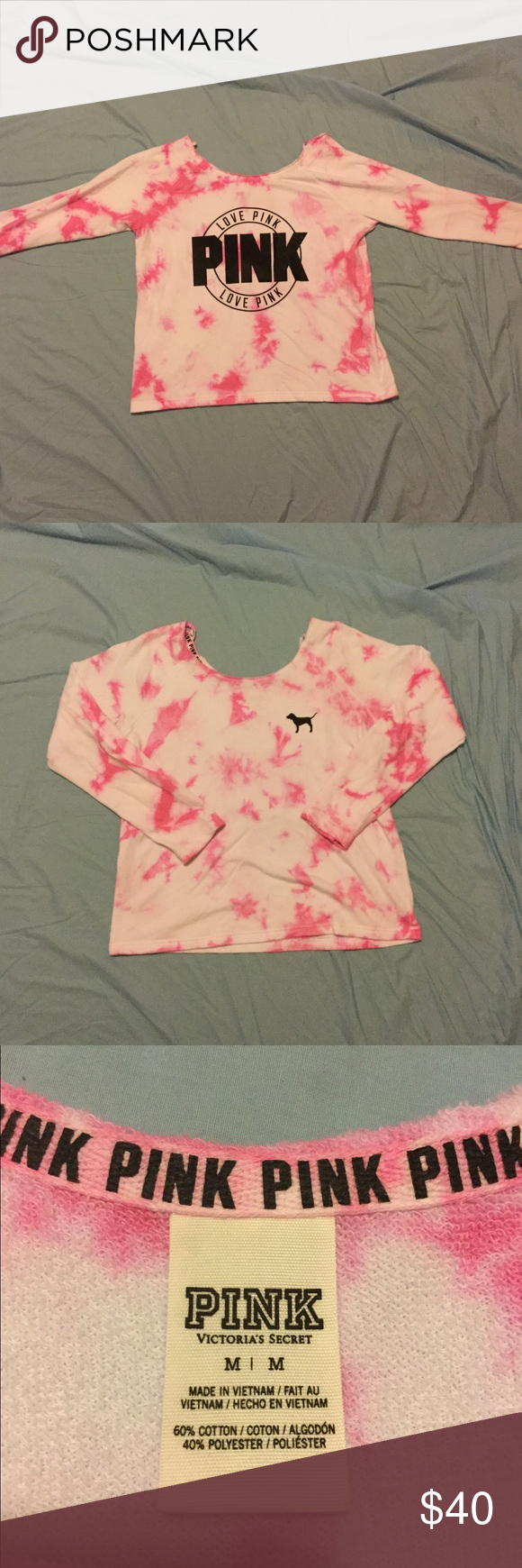 Tie dye slouchy crew from PINK! Size medium. Pink and white oversized slouchy crew. Comfy and cozy. Only worn once. Excellent condition! Offers are welcome. NO TRADES. PINK Victoria's Secret Tops