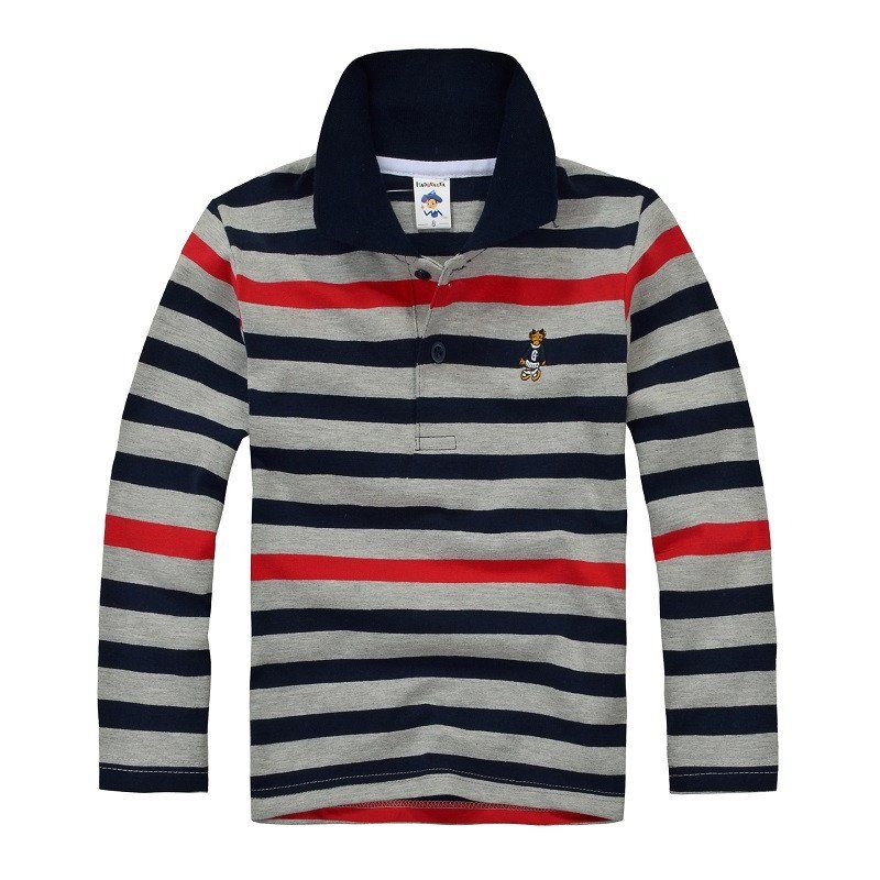 Top Quality Boys Girls Shirt For Kids Long Sleeve T Shirt Cotton Striped Color 2 3 4 5 6 7 8 9 10 11 12 13 Boy Outerwear Boys Polo Shirt Boys Long Sleeve Polo