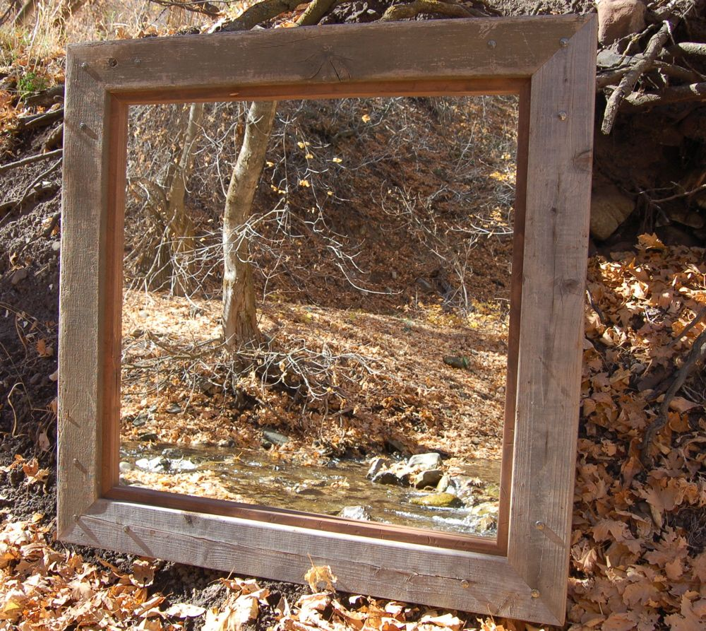 Rustic Mirrors - Barnwood with Alder Inset and Nailhead Corner Tacks ...
