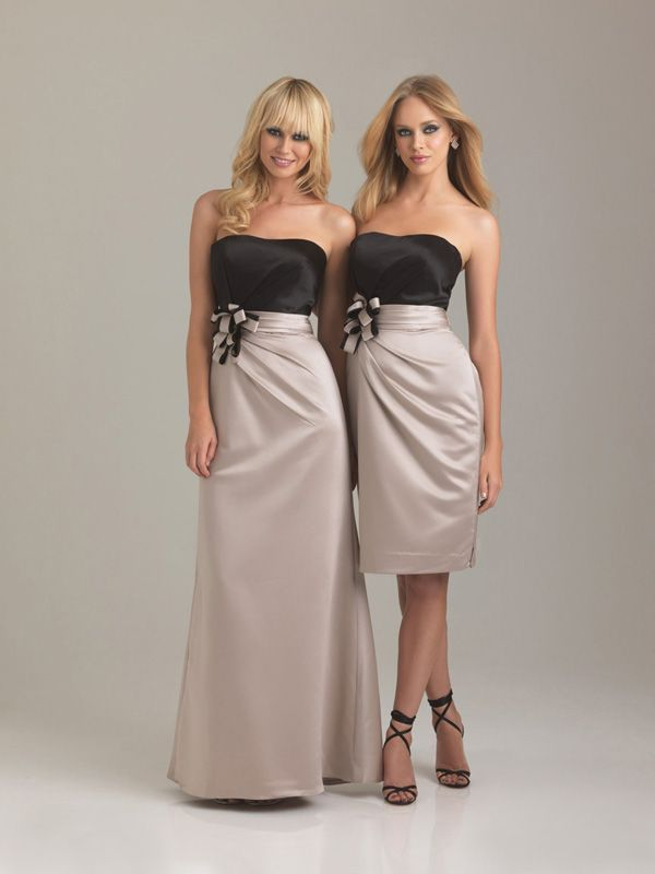 Hot Satin Strapless Neckline Wedding Bridesmaid Dresses With Two Tone Bow Bridesmaids Party