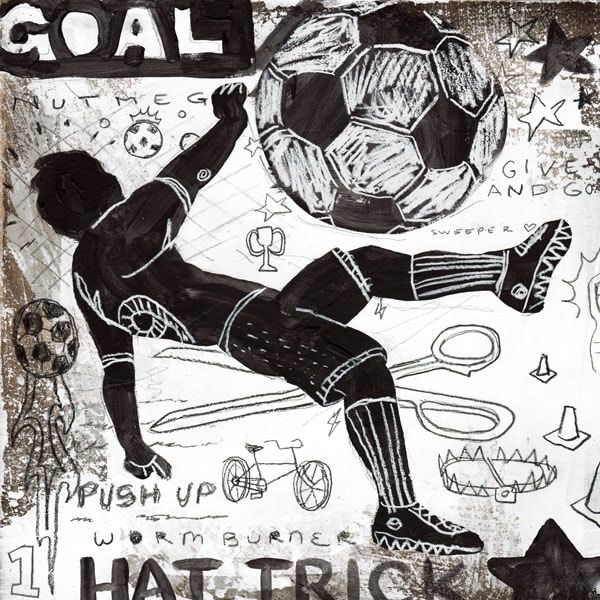 Rough Game sports soccer wall art decor in black and white