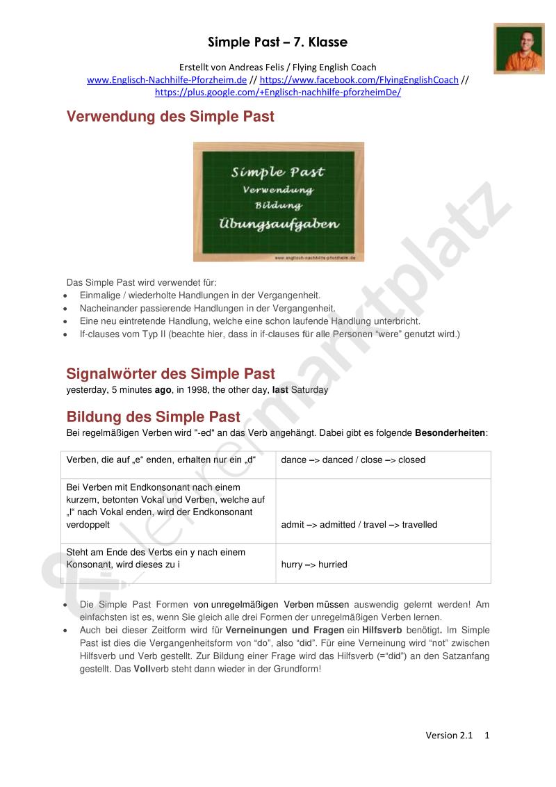 Simple Past - Arbeitsblätter mit Lösungen (7. Klasse) | Englisch ...
