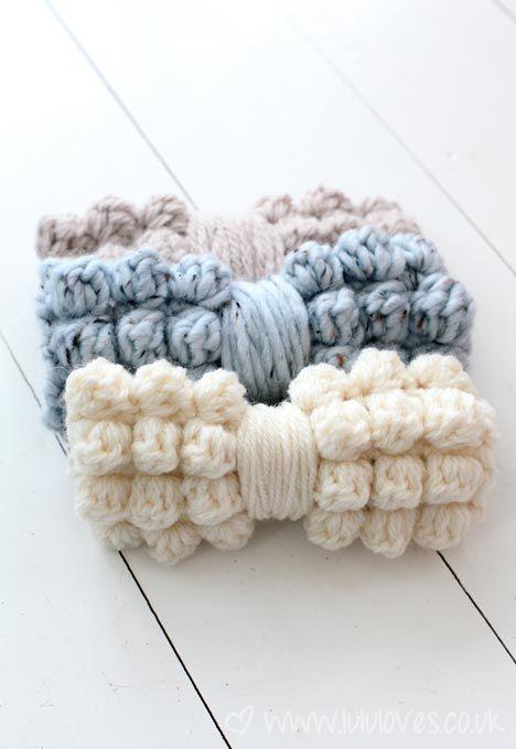 Crochet Chunky Bobble Bows | DIY (crochet) | Pinterest | Lazos de ...
