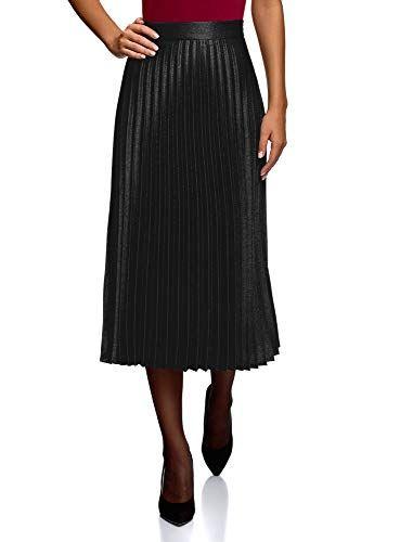 9f0d2eafbf oodji Collection Mujer Falda Plisada Alargada Negro ES 44   XL ...