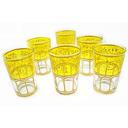 Love these Moroccan glasses!@Overstock - Originally Moroccan glasses were used for tea, but the use of Moroccan tea glasses has adapted not only for drinking tea, but use as votive candle holders and much more. These Moroccan tea glasses are hand-painted and feature a Mek yellow trim.http://www.overstock.com/Worldstock-Fair-Trade/Mek-Yellow-Tea-Glasses-Morocco/6458034/product.html?CID=214117