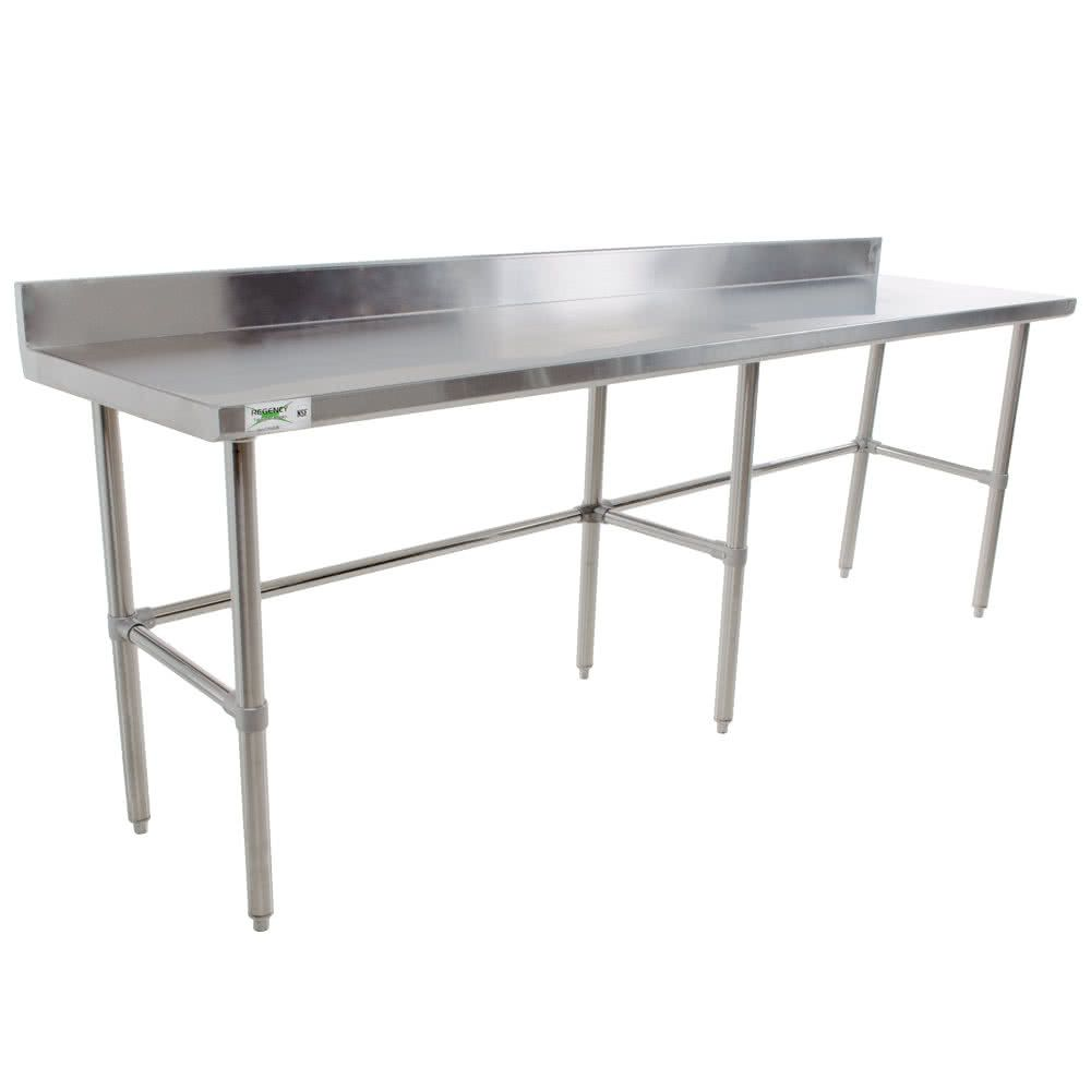 Regency 30 X 120 16 Gauge 304 Stainless Steel Commercial Open Base Work Table With 4 Backsplash Stainless Steel Work Table Backsplash Work Table