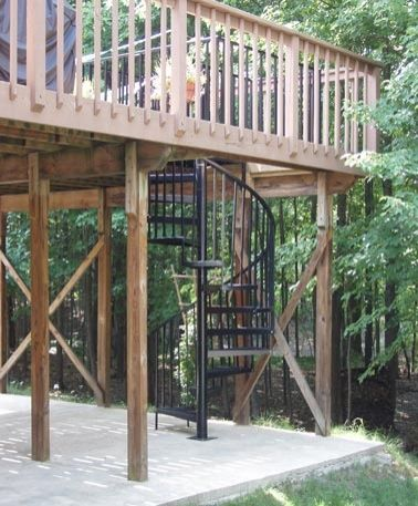 Exterior Spiral Stairs   Black Outdoor Through Deck Gated Spiral Stairway
