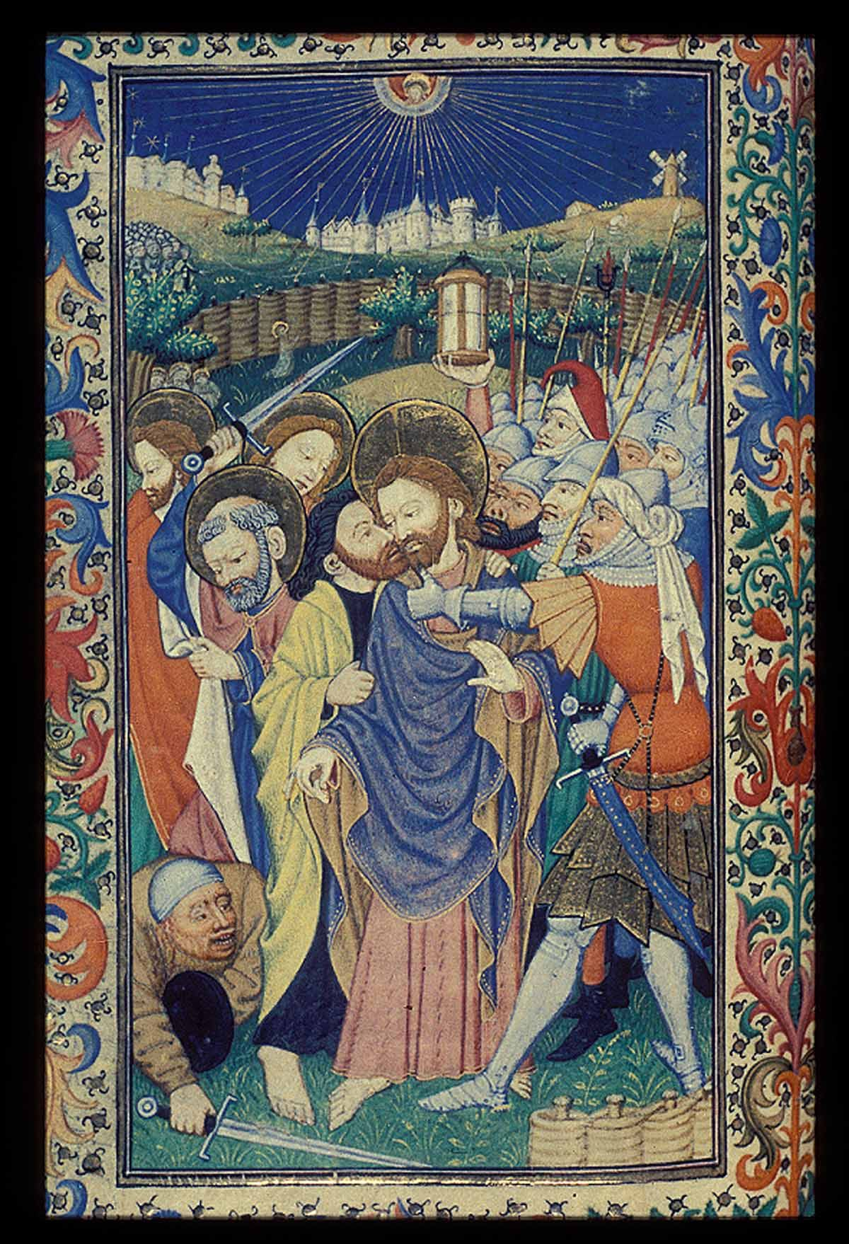 The Betrayal - From a Book of Hours produced in Normandy (c.1440-50) for the English market; the work of an artist known as the Master of Sir John Falstolf.