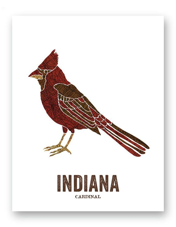 Indiana State Bird Nature Art Outdoor Vintage Map Print