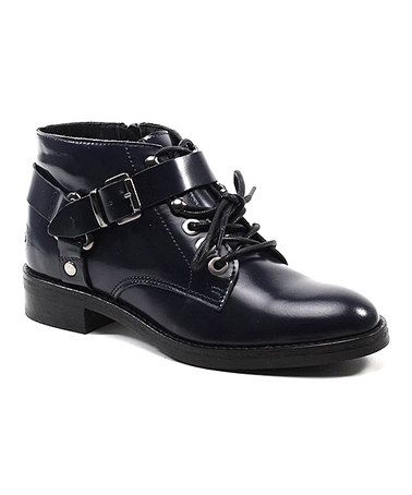 Loving this Navy Moving On Leather Ankle Boot on #zulily! #zulilyfinds