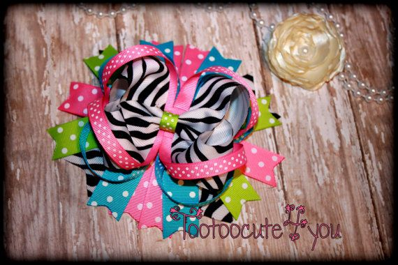 Boutique Hair Bow Large Over the Top 6 inch by PinkHairBowBoutique