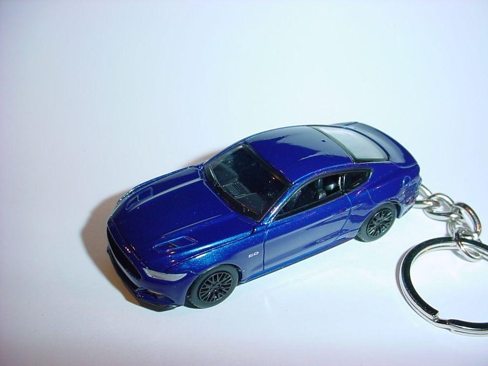 New 3d Blue 2015 Ford Mustang Gt Custom Keychain Keyring Key Roush