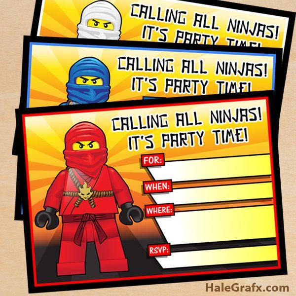 Free Printable Lego Ninjago Birthday Invitation Set Lego Ninjago Birthday Lego Ninjago Party Lego Birthday Invitations