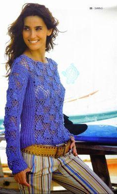crochelinhasagulhas: Blusa azul em manga longa de crochê