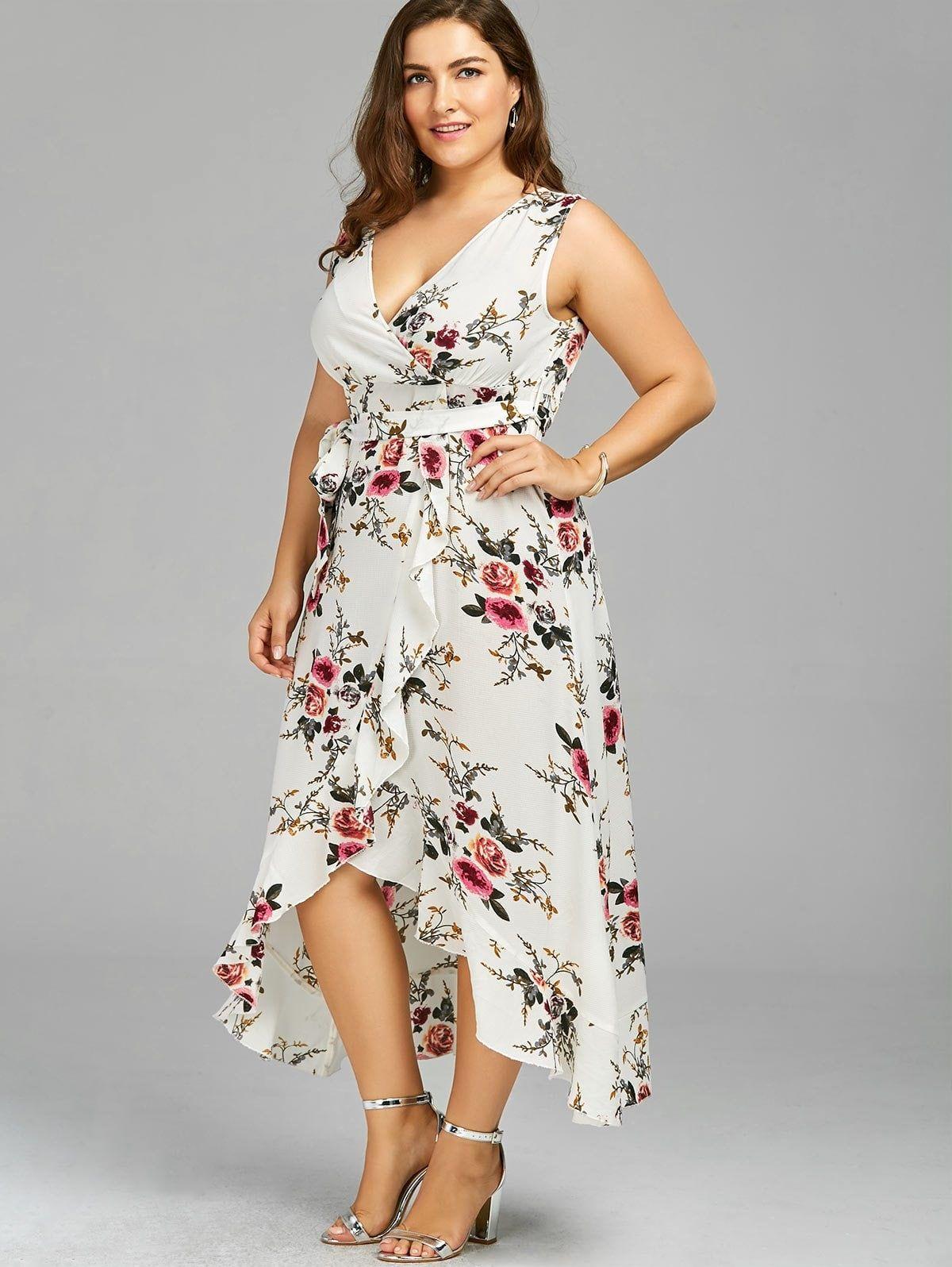 Plus Size Tiny Floral Overlap Flounced Flowy Beach Dress Flowy Beach Dress Floral Dresses Long Plus Size Dresses [ 1596 x 1200 Pixel ]