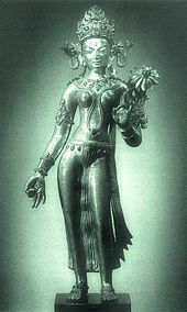 "Tara (Sanskrit: तारा, tārā) or Ārya Tārā, is a female Bodhisattva in Mahayana Buddhism who appears as a female Buddha in Vajrayana Buddhism. She is known as the ""mother of liberation"", and represents the virtues of success in work and achievements. The most widely known forms of Tārā are:        Green Tārā, known as the Buddha of enlightened activity      White Tārā, also known for compassion, long life, healing and serenity; also known as The Wish-fulfilling Wheel, or Cintachakra"