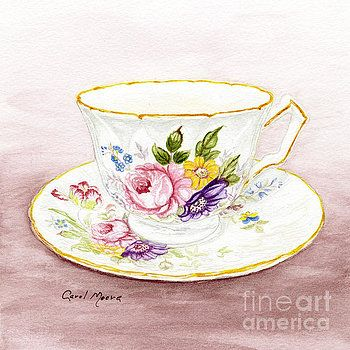 Tea cup and saucer with flowers, watercolor painting by artist Carol Moore.