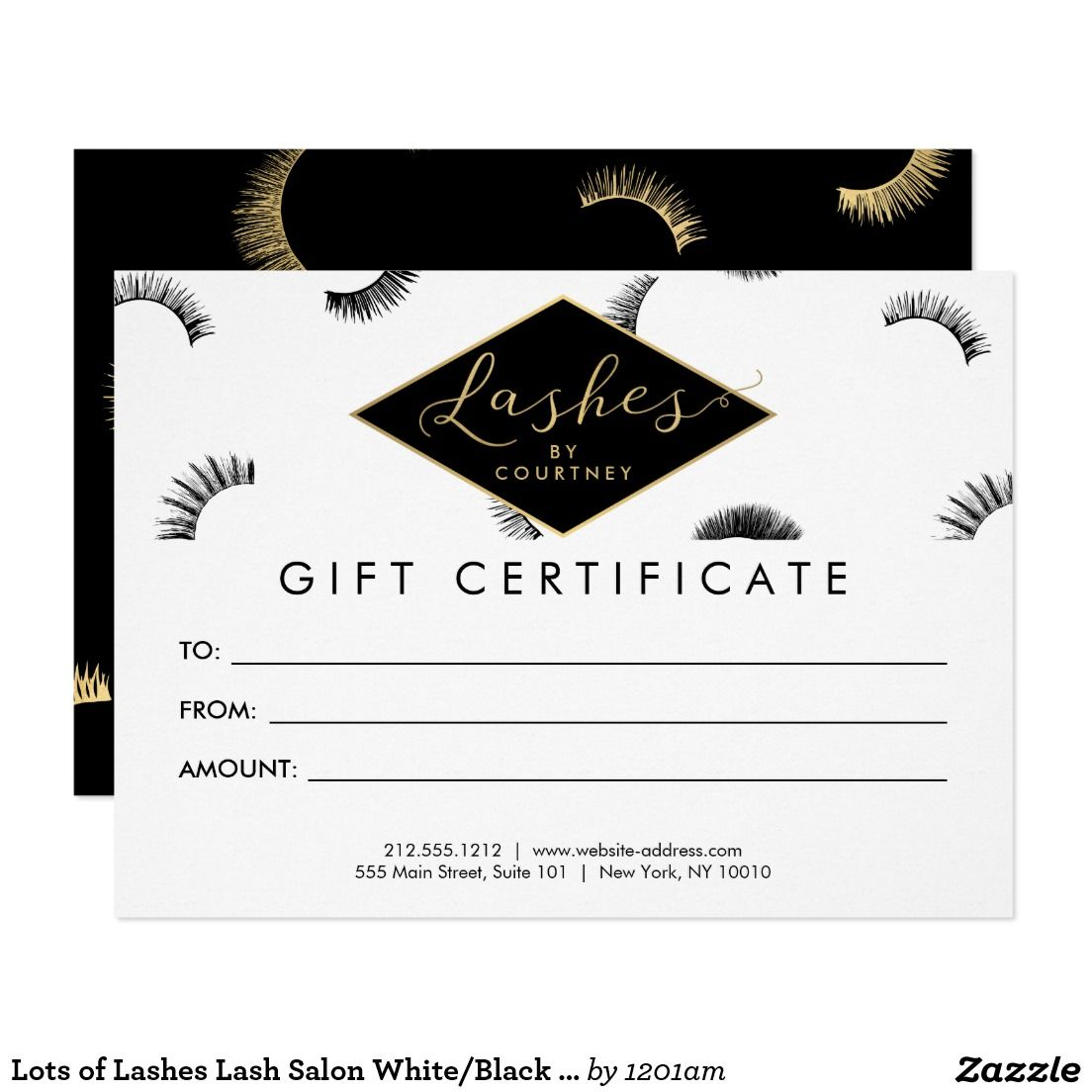 Lots Of Lashes Lash Salon White Black Gift Card Zazzle Com In 2021 Gift Certificate Template Gift Certificates Certificate Templates
