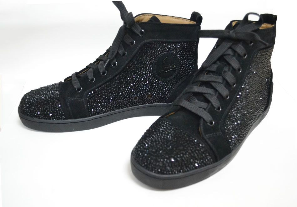 black crystal, christian louboutin strass shoes high top