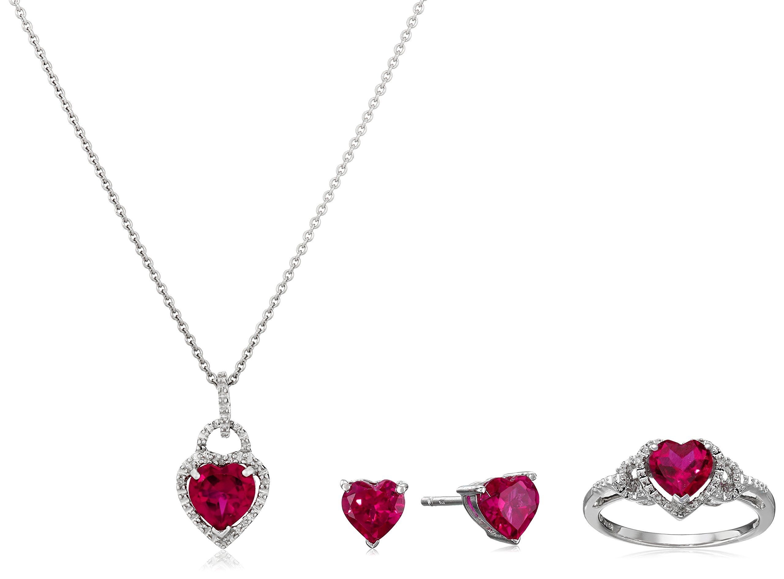 Sterling silver created ruby heart with diamond pendant necklace