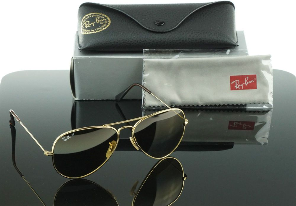 RARE POLARIZED NEW Genuine RayBan TITANIUM Gold Sunglasses