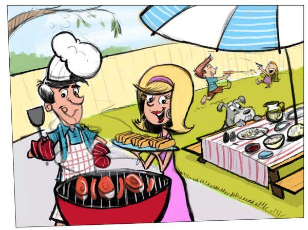 Happy Fun In The Sun Th Of July Backyard BBQ Pinterest - Backyard bbq party cartoon
