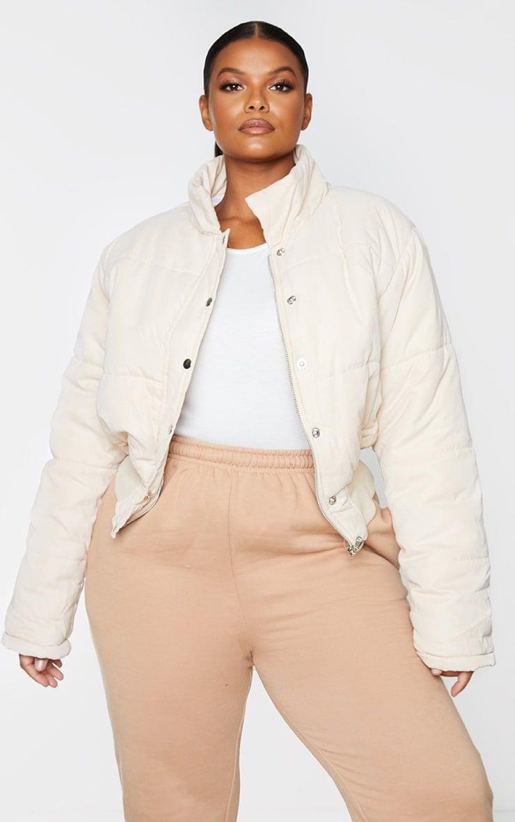 Women Plus Beige Peach Skin Cropped Puffer Jacket 48 In 2020 Puffer Jackets Quilted Puffer Jacket Plus Size Outfits [ 1180 x 740 Pixel ]