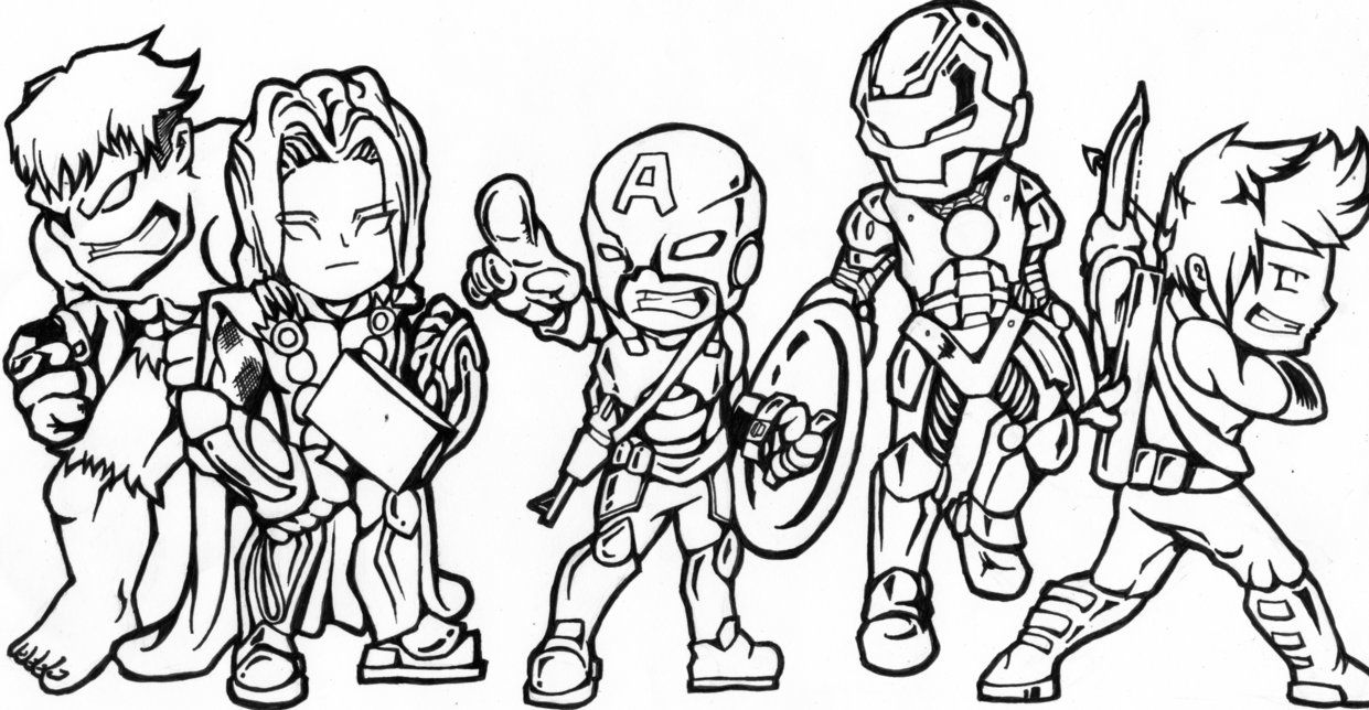 Avengers Chibi Version By Skulpin16 On Deviantart Avengers Coloring Avengers Coloring Pages Captain America Coloring Pages