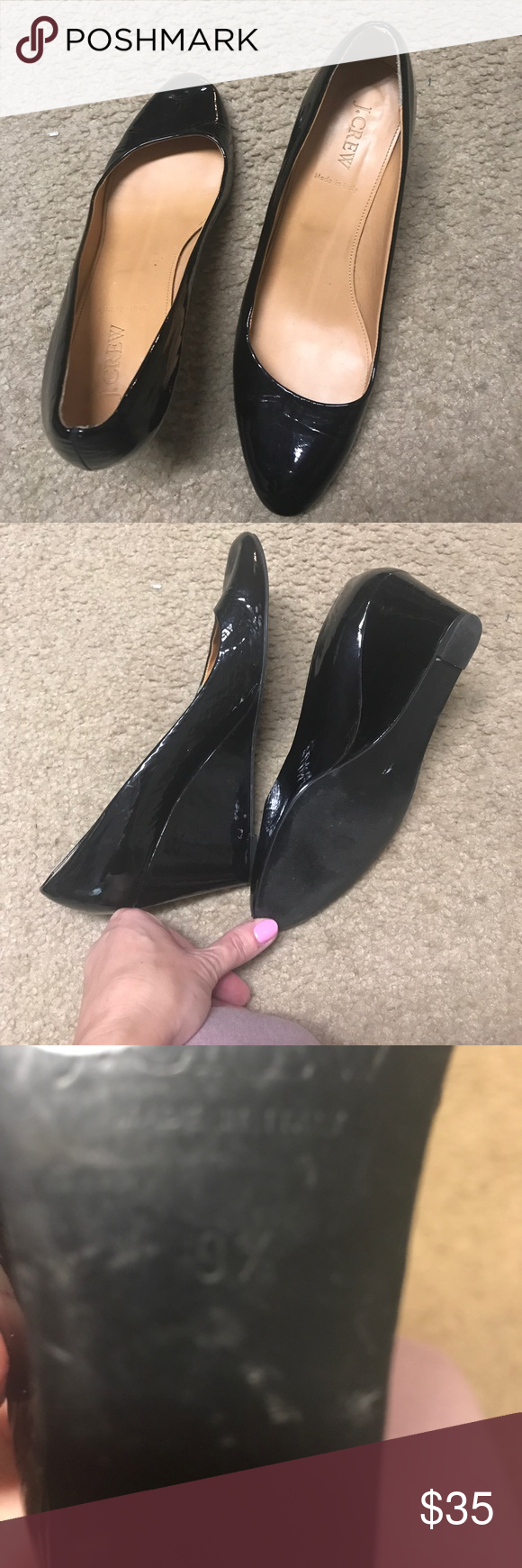 J crew wedge black patent leather shoes Size 9 1/2 wedge patent leather shoes. Excellent condition. Barely when. Classic with a dress or jeans. J. Crew Shoes Wedges