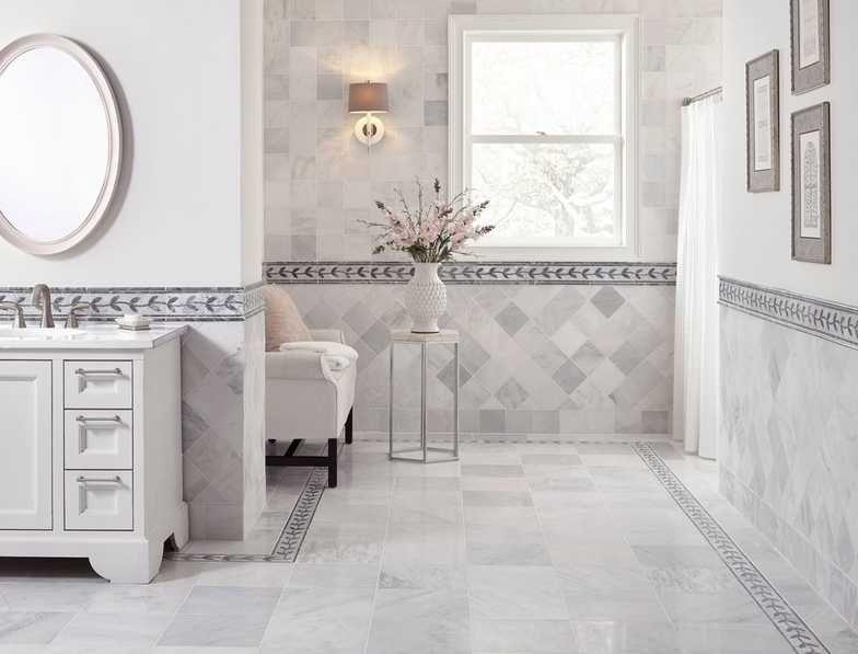 Rooms Bathroom 4 Carrara White Honed Marble Ivy Carrara White