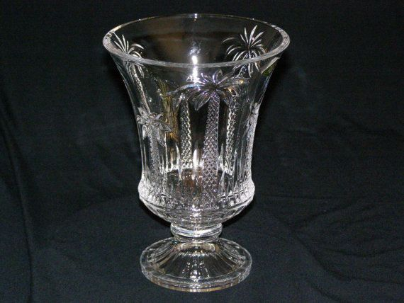 Shannon Crystal Pedestal Vase With Beautiful Palm Trees Made In