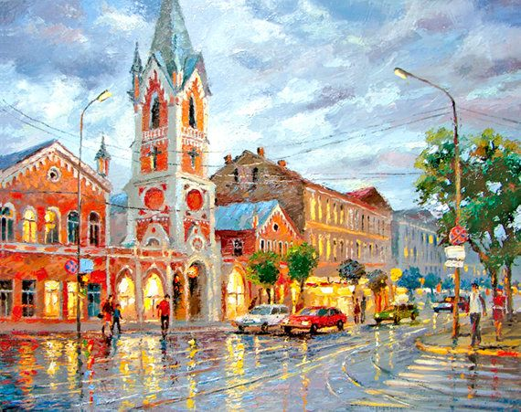 Evening light OIL PALETTE KNIFE on canvas Painting by Dmitry Spiros. 32x24 in. 80 x 60 cm