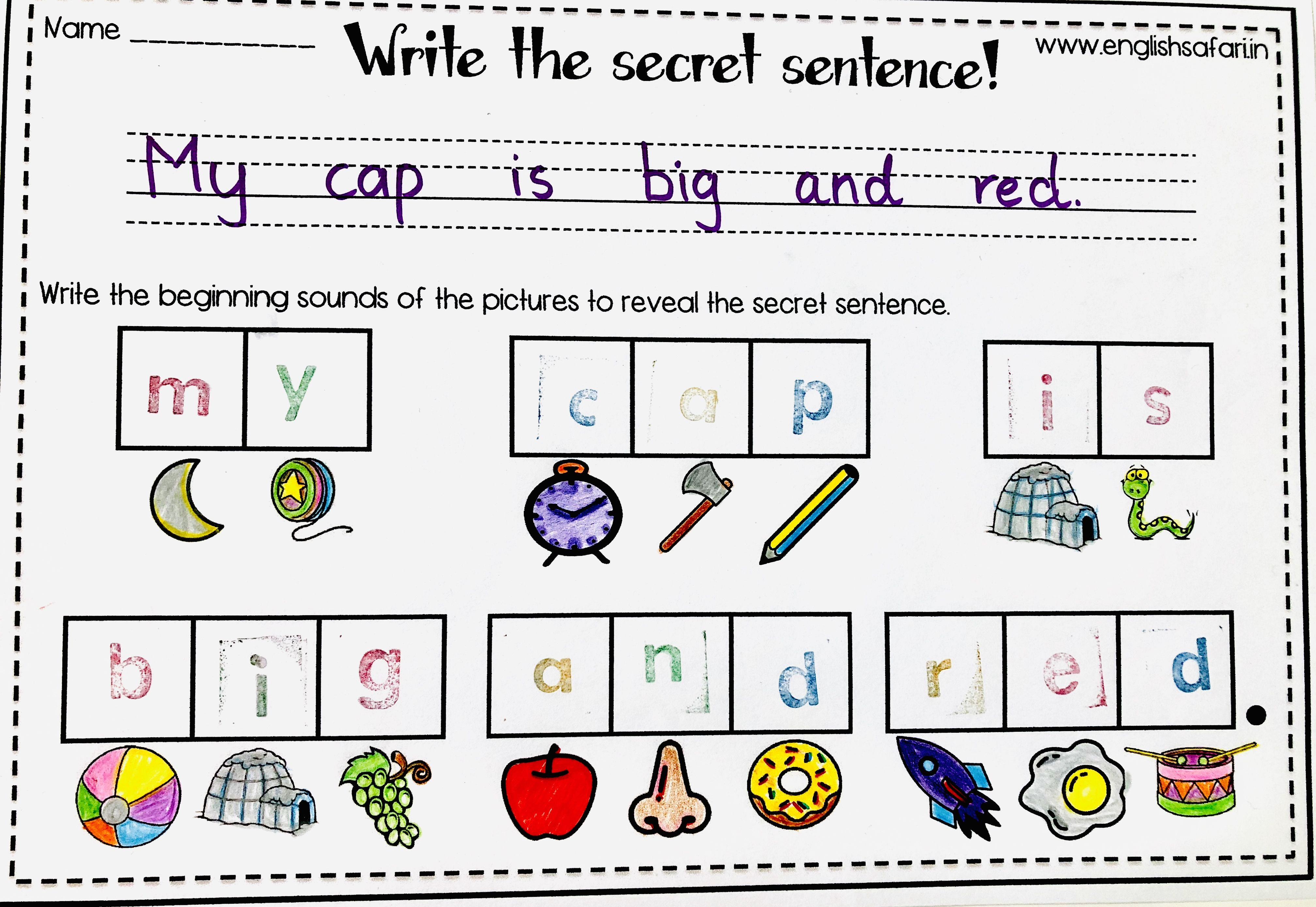 Free Phonics Sentences Worksheet Englishsafari