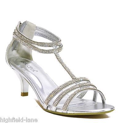 f8ce27fa02fa75 Ladies Silver Gold Diamante Sparkly Low Heel Party Evening Shoes Sandals  Size