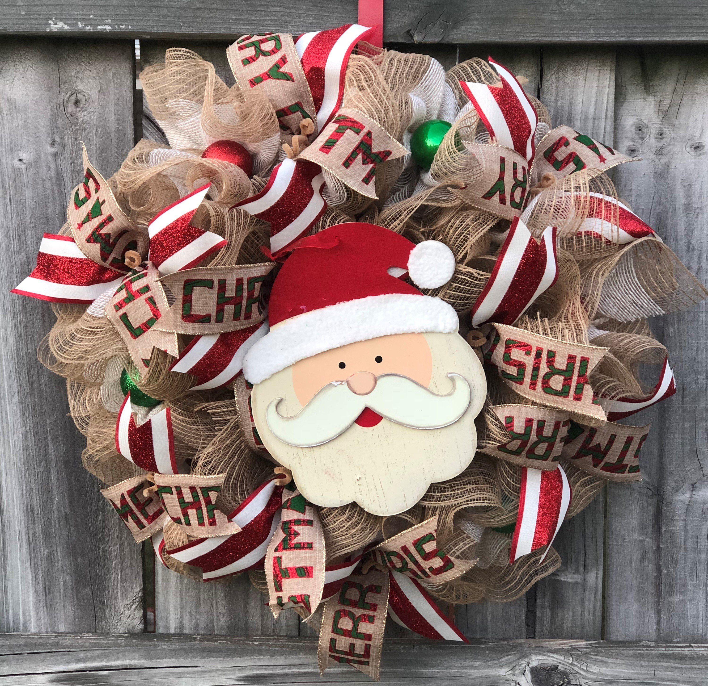 Rustic SANTA Christmas Mesh Outdoor Front Door Wreath
