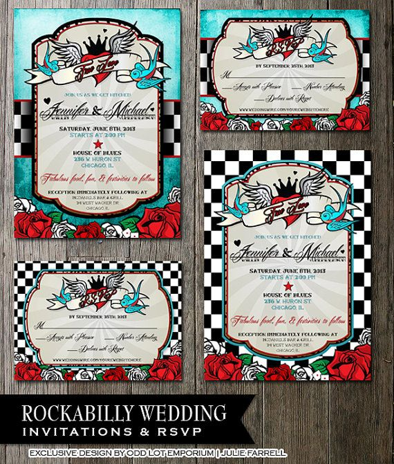 rockabilly wedding invitations and rsvp blue or checkered digital