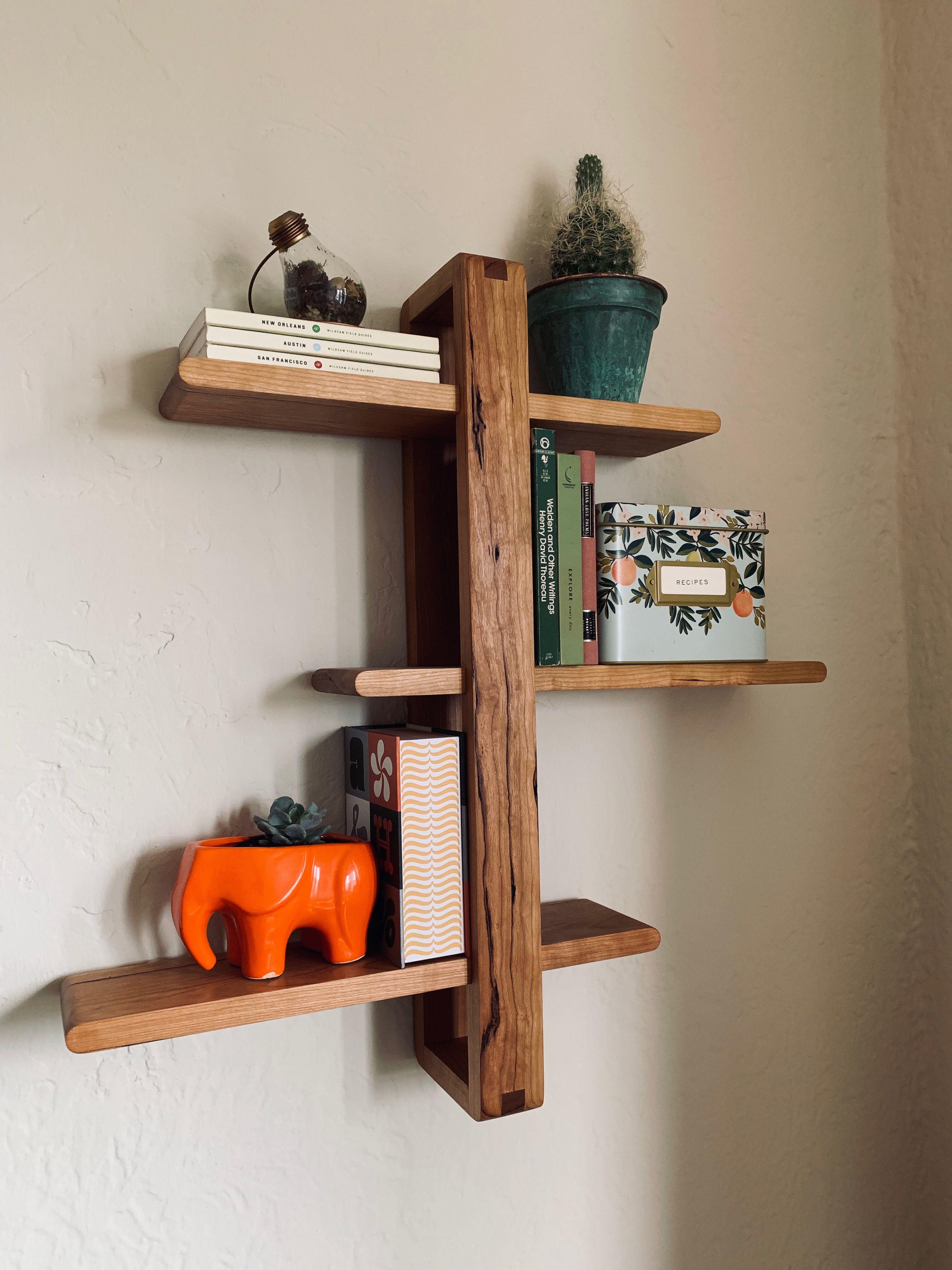 Shifting Shelf In Cherry Modern Wall Shelf Wood Wall Shelf Modern Shelving