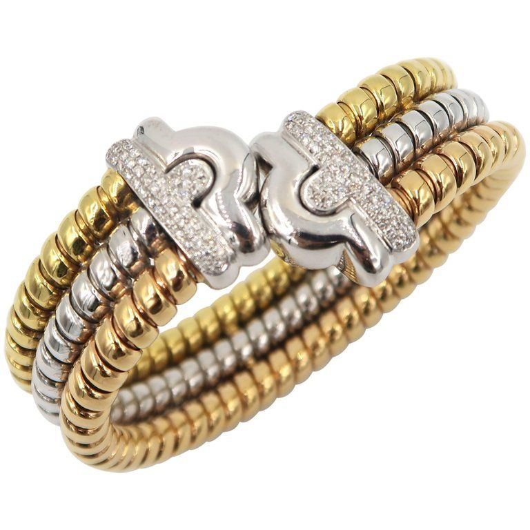 551e8855d For Sale on 1stdibs - Three Coloured 18K Gold Bangle with Diamond Diamond :  0.67ct. Gold : 75.816g. 18K Yellow Gold/ White Gold/ Rose Gold