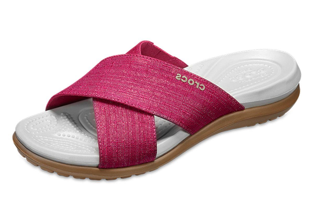 d1196b638b38 Crocs Capri Shimmer Cross Band Paradise Pink Oyster Slide Comfort Sandals