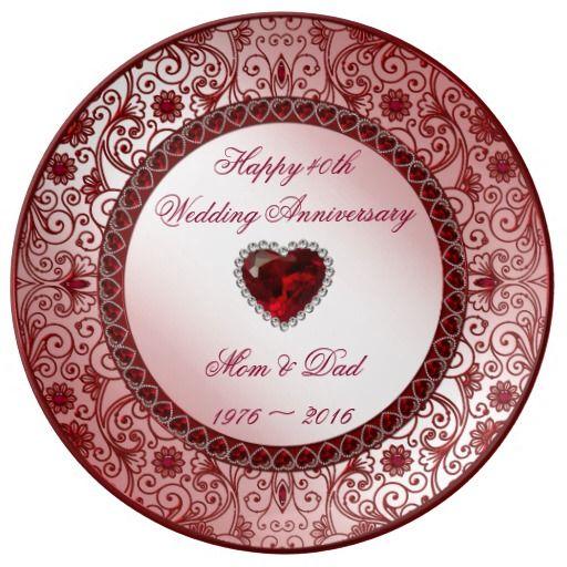 Ruby 40th Wedding Anniversary Porcelain Plate Zazzle Com 40th Wedding Anniversary Wedding Anniversary Ruby Wedding Anniversary