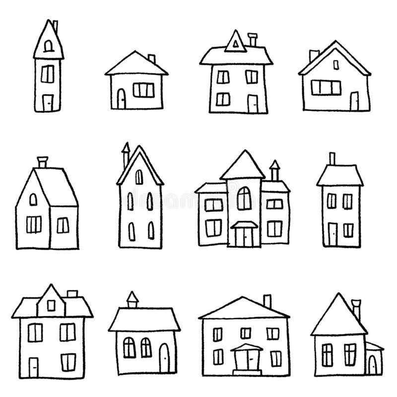 doodle home set cartoon style vector illustration royalty free house styles affinity photo vektorgrafik haus