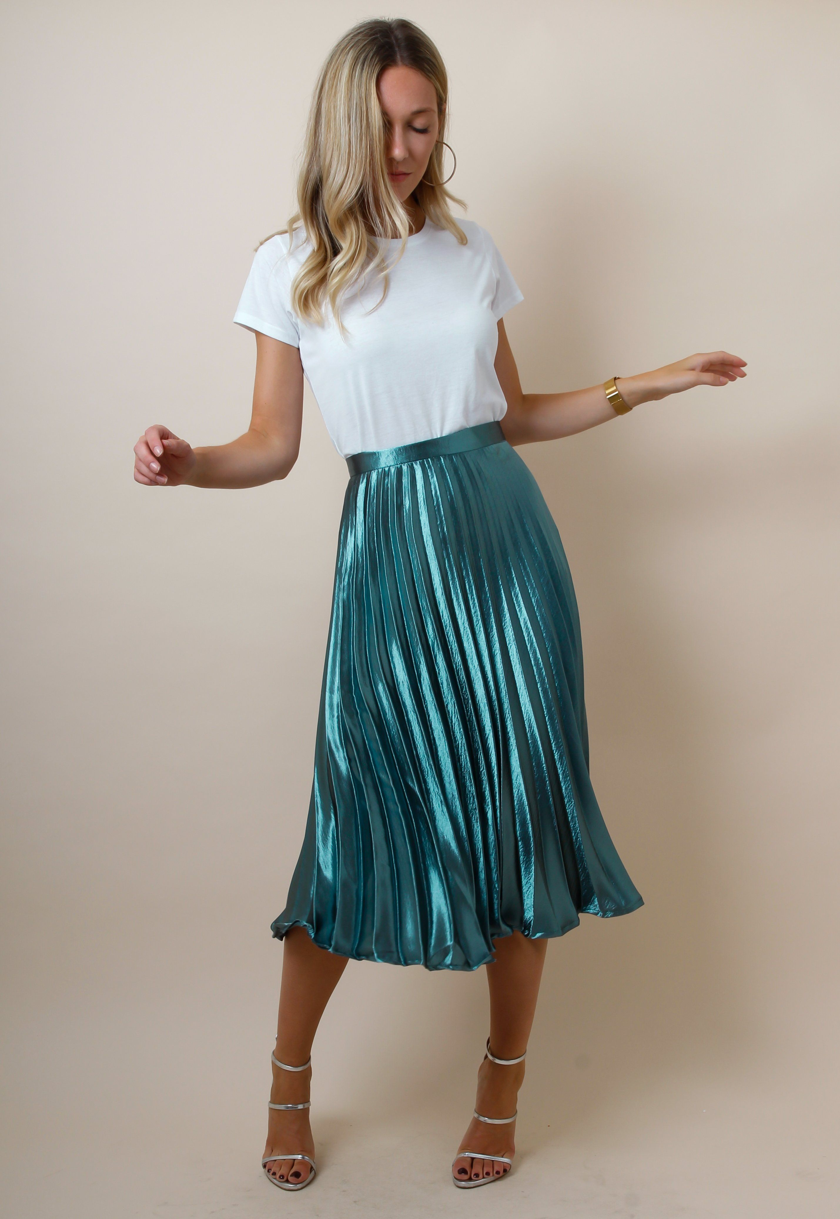 Pretty Lavish u Metallic Satin Pleated Midi Skirt Teal Fashion