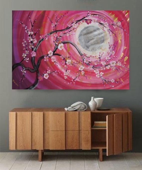 Cherry blossom sun Zen japanese style Large acrylic painting | Etsy