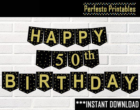 Printable happy birthday banner black and gold 20th 30th 40th 50 off sale printable happy birthday banner black and gold 20th 30th 40th 50th 60th 70th 80th 90th instant download publicscrutiny Image collections