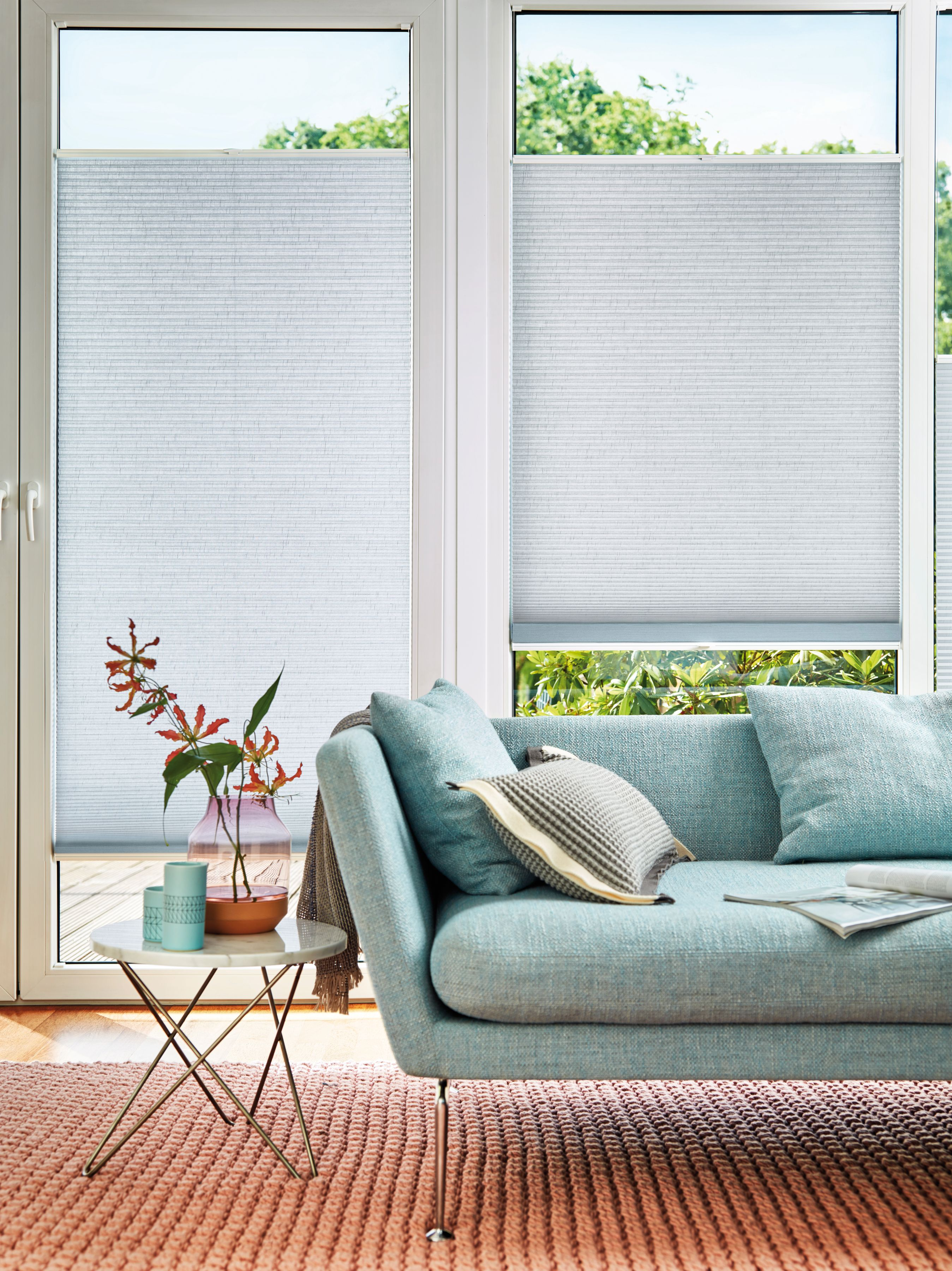Pale Blue Duette Blinds From Apollo Living Room Blinds Blinds For Windows Blinds For French Doors