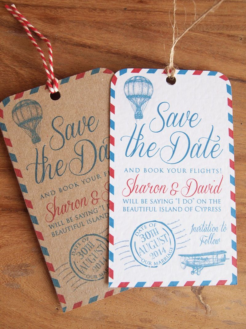 Luggage Label Save The Dates Wedding Abroad Date Our Vintage Airmail