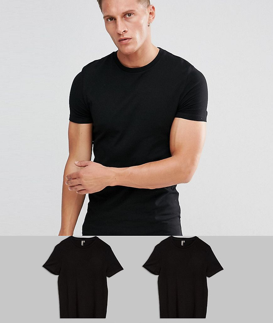 ASOS 2 Pack Muscle Fit T-Shirt In Black With Crew Neck SAVE at asos.com