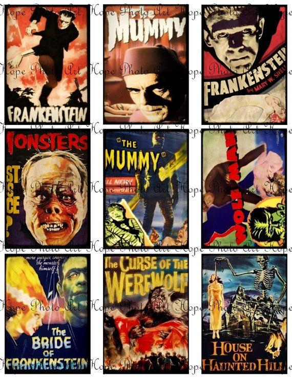 Printable Halloween Movie Monsters Digital Collage Sheet 2 5